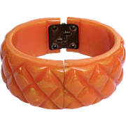Vintage Orange Marbled Quilted Bakelite Clamper Bracelet