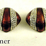 Vintage Ciner Enamel Rhinestone Earrings