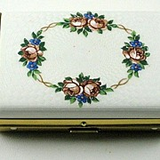 Vintage Guilloche Enamel Calling Card Case With Roses