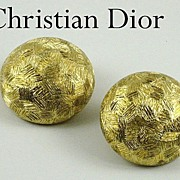 Vintage Christian Dior Goldtone Button Earrings