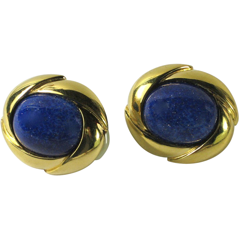 vintage ciner blue lapis glass earrings from thevintagejewelryboutique on ruby