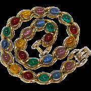 Coro Pegasus Multicolored Glass Cabochon Necklace