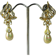 Vintage D'Orlan Faux Pearl & Rhinestone Dangle Teardrop Earrings