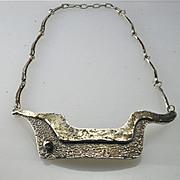 Vintage Darveau Modernist Mid Century Pewter Necklace