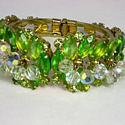 Vintage Juliana D&E Peridot Rhinestone Clamper Bracelet