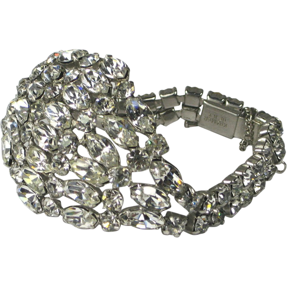 vintage kramer of ny crystal rhinestone bracelet the