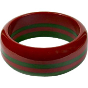 Vintage Laminated Red and Green Bakelite Bracelet - Red Tag Sale Item