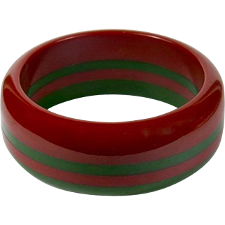 Vintage Laminated Red and Green Bakelite Bracelet