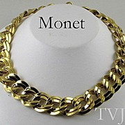 Vintage Monet Large Double Link Necklace