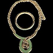 Vintage Monet Green Pendant Necklace and Bracelet NOS