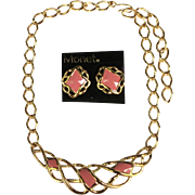 Vintage Monet NOS Goldtone Enamel Pink Necklace and Earrings