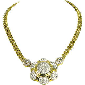 Vintage Nina Ricci Rhinestone Pendant Necklace