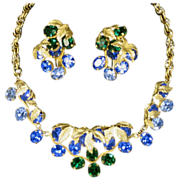 1950's Napier Vintage Rhinestone Necklace and Huge Earrings