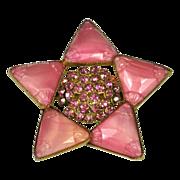 Vintage Pink Czech Glass & Rhinestone Brooch