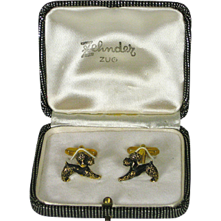 Vintage 1960's Poodle Cuff Links Cufflinks