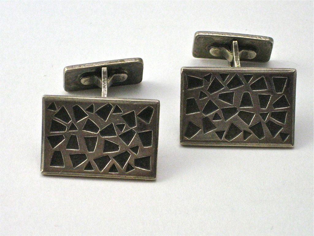 Vintage Sterling Silver Modernist Mid Century Cufflinks