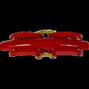 Vintage Red Bakelite Links Pin