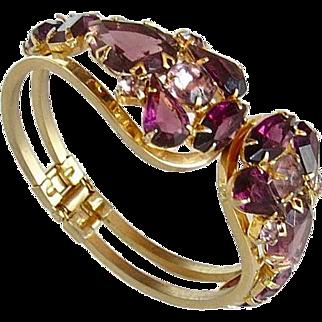 Vintage Amethyst Rhinestone Hinged Clamper Bracelet
