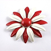 Vintage Red and White Enamel Flower Power Pin Brooch