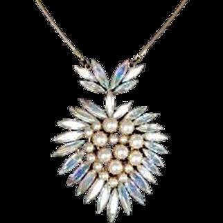 Vintage Aurora Borealis Rhinestone and Pearl Heart Pendant Brooch
