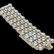 Vintage Sherman Wide Aurora Borealis 7 Row Bracelet