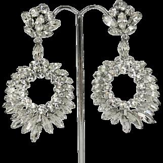 Huge Vintage Sherman Clear Crystal Chandelier Earrings