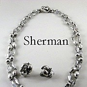 Fabulous Vintage Sherman Crystal Vitrail Necklace and Earrings