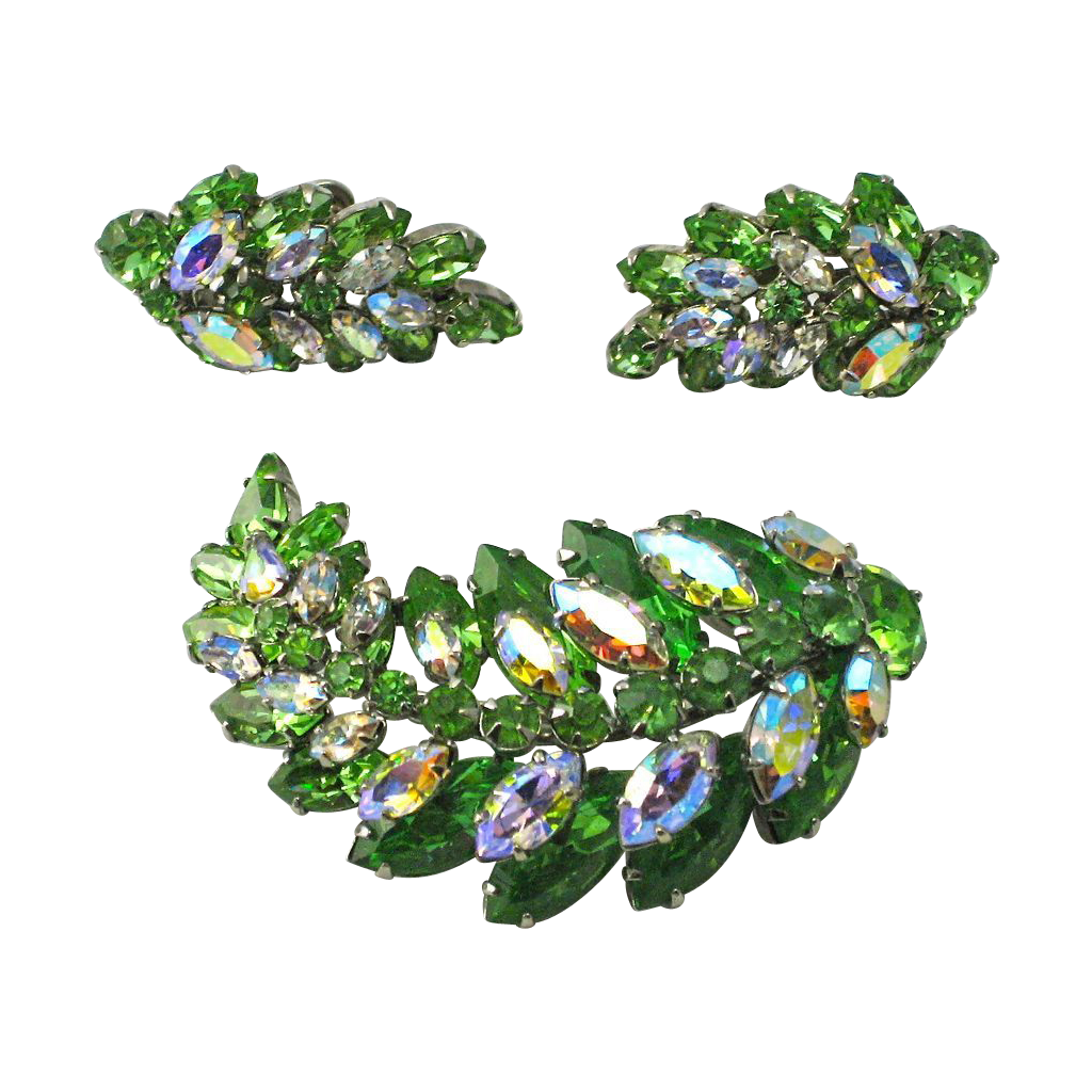 Vintage Sherman  Aurora Borealis Peridot Colored Rhinestone Brooch Earrings