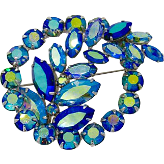 Sherman Brooch With Blue Aurora Borealis Rhinestones