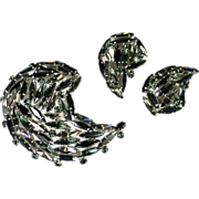 Sherman Black and Smoke Rhinestone Brooch & Earrings