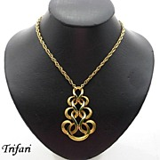 Vintage Retro Trifari Articulated Pendant Necklace