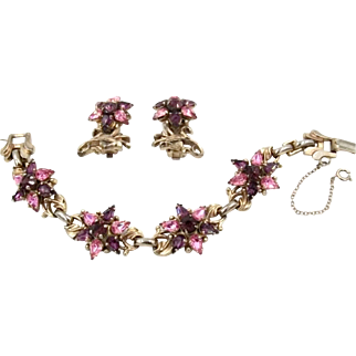 Vintage Barclay Pink and Purple Rhinestone Bracelet Earrings