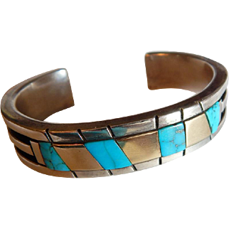 Signed 14K Yellow GOLD Sterling SILVER Navajo Native American TURQUOISE Cuff Bracelet