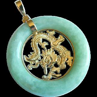 Asian 14K yellow GOLD Dragon JADE Imperial Chinese Jade circle stone pendant