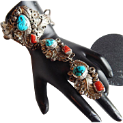 Brilliant Navajo YAZZIE Sterling SILVER Signed TURQUOISE CORAL Slave bracelet Harry B Yazzie chain ring