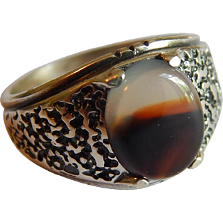 Unique AGATE stone STERLING SILVER large Signed Mens ring size 10