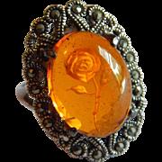 Elegant carved AMBER Rose Marcasite STERLING SILVER  sparkling ring size 8