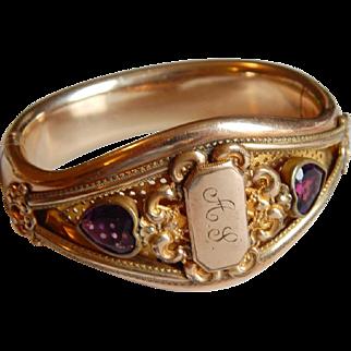 Fine AMETHYST Wide GOLD FILL heart monogrammed signed bangle Antique bracelet