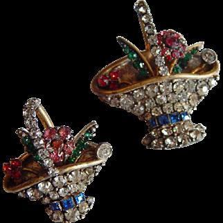 Gorgeous 3-Dimensional CZECHOSLOVAKIA Rhinestone Basket scatter pins