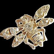 Special Crystal rhinestone BUMBLE BEE Bug figural pin brooch