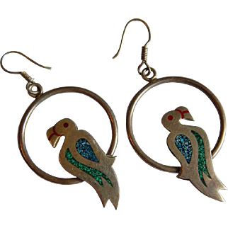 Mexican STERLING SILVER crushed turquoise malachite LARGE bird Parrot hoop drop TAXCO Mexico earrings