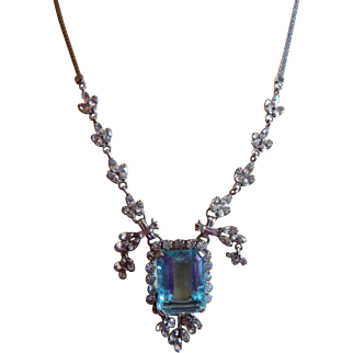 Stunning HUGE Topaz Glass Stone 12k WHITE GOLD FILL Marquise crystal rhinestone Drop Chandelier necklace