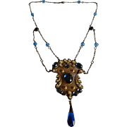 Beautiful Blue glass stone Mesh Antique Chandelier seed Pearl drop necklace brooch