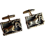 Unique STERLING Silver PORTUGAL Bull fighter Matador 3-D figural cuff links