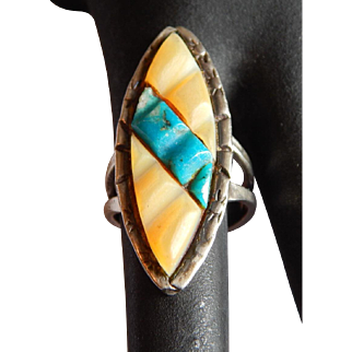Very neat STERLING Turquoise Mother of Pearl Carved stone Native American South west Sterling silver ring sz 7