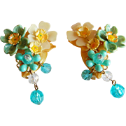 Pretty Celluloid vintage plastic layered floral LARGE dangling bead 3-D clip earrings