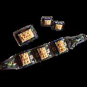 Rare CHINESE SILVER Enameled Carved bone bracelet earrings brooch Sterling silver set