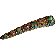 Fabulous Antique Chinese SILVER filigree enameled turquoise Amethyst Cloissone gold wash Sterling silver finger guard brooch