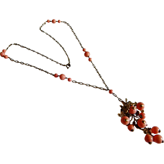 Pretty Art Nouveau Dangling coral glass beaded Deco LONG necklace floral motif