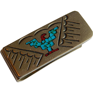Fun Sterling Silver South Western Thunderbird Crushed turquoise Coral tone money clip signed
